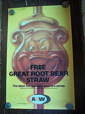 Vintage A&W AW Root Beer 1976 Display Advertising Poster 36x23""