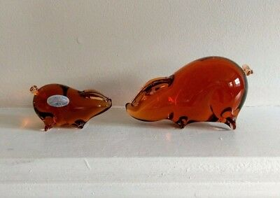 Wedgwood Glass Pigs x 2