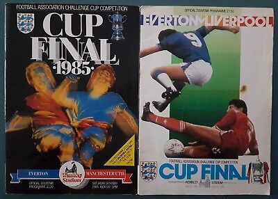 1985 & 1986 F.A.Cup Final Programmes Everton vs Manchester United & Liverpool FC
