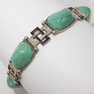 Vintage Art Deco Mottled Green Czech Glass Enamel Bracelet