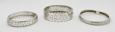 Beautiful Mixed Lot 3 Antique Victorian Solid Silver Bangles Bracelets Hm 1884