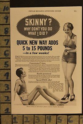1934 Ironized Yeast Weight Gain Diet Fad Medical Cure Health Vintage Ad  Zd72