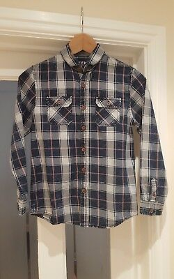 Next boys distressed look blue check shirt age 11 years
