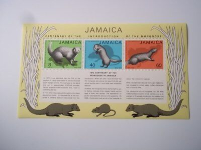 Jamaica: Centenary of the Introduction of the Mongoose souvenir sheet.  Mint NH.