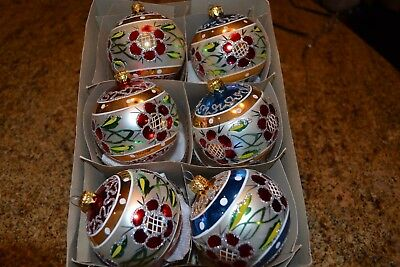 Christmas Ornaments Mercury Glass Hand Blown & Painted Poland set of 6