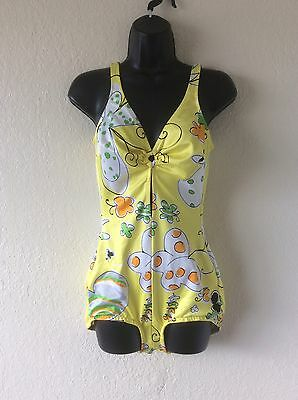 "Vintage 60s 70s One Piece Swimsuit Yellow MOD print - B34"" to 36"""