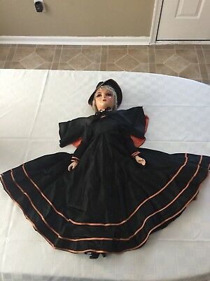 Vintage 1920-30-'s Halloween Witch Bed Doll w/gray hair, Compo, Ex. Cond.