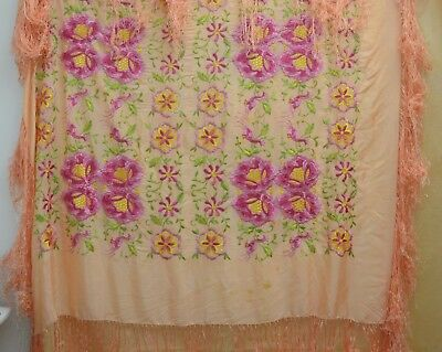 Gorgeous Vintage Pink Silk Embroidered Piano Shawl Tt216