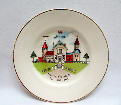 "Vtg Mother Goose England Child's Miniature Nursery Rhyme Plate ""House that Jack"""