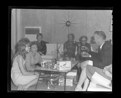 """*D863A VINTAGE 1960s 5"""" NASA HOLIDAY COCKTAIL DRINK SNACK PARTY NEGATIVE PHOTO"""