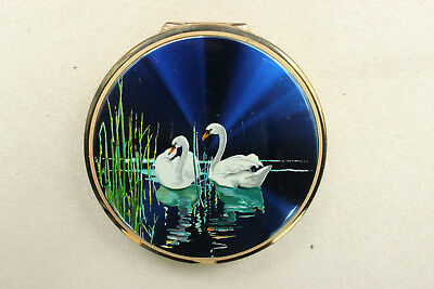Vintage STRATTON Enamelled SWANS On a LAKE Powder COMPACT