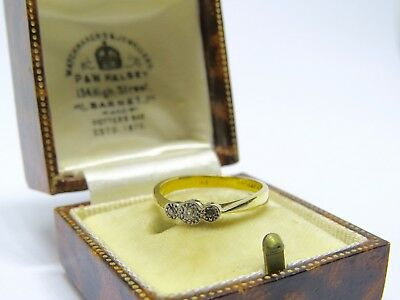LOVELY 18ct Yellow Gold and Platinum Art Deco Diamond Three Stone Ring SIZE J