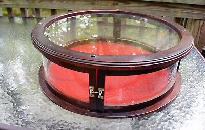 Antique CURVED GLASS round wood Counter top /SHOW CASE/ Display / GENERAL STORE