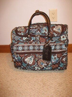 Vera Bradley Retired Java Blue Rolling Wheeled Carry On Suitcase/travel