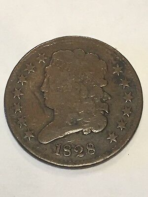 1828 Half Cent Classic Head 13 Stars-Very Good-Nice Brown Tone