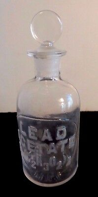 C 1879 Whithall Tatum & Co Apothecary Storage Bottle  Raised Letters Pb(C2H3O2)2