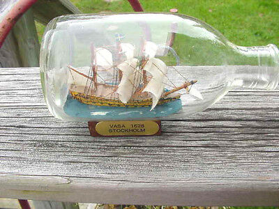 Vintage Masted Swedish Ship In A Bottle Vasa Stockholm 1628 Model