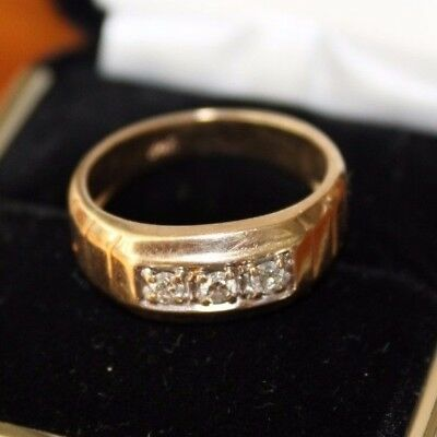 Vintage 14K Gold 3 Diamond Classic Channel Band Ring ~ STUNNING ART DECO