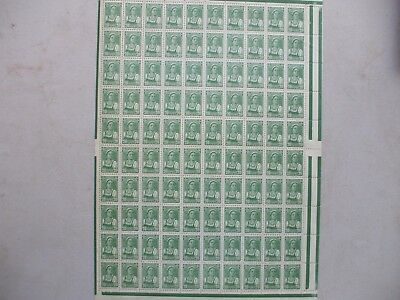 Sheet Of 100 Mint 1929 Stamps 20K Green Farm Girl