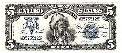 """Nice Scarce 1899 $5.00 """"sioux Chief"""" Large Silver Cert  """"popular""""  Very Fine  Nr"""