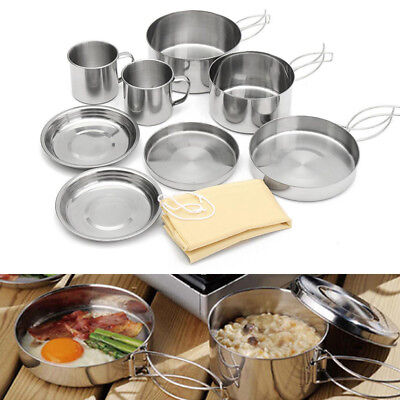 9 Pcs Outdoor Camping Backpacking Cooking #Picnic Pot Pan Plate Cup Set Cookware