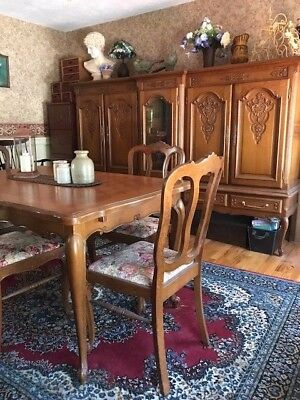 Antique Country French Oak Parquet Dining Table w/6 chairs hutch and buffet