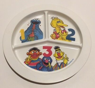 "Sesame Street Muppets 9"" Divided Plate Cookie Monster Big Bird Bert Ernie Grover"