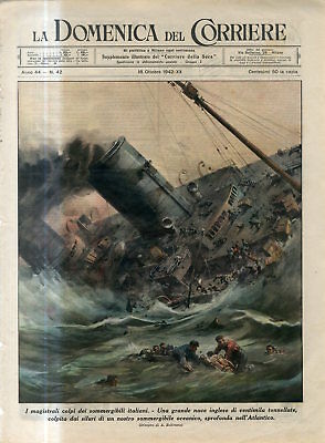 1942 WW2 Italian submarine attack the large English ship in Atlantic Print