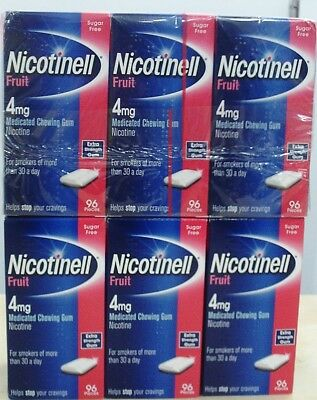 X6 Boxes of 96 Nicotinell Fruit 4mg Medicated Chewing Gums THATS 576 GUMS!