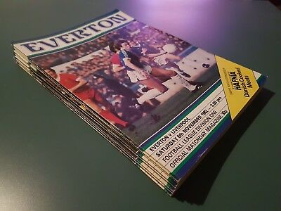 23 x Everton FC 1982-83 Matchday Programmes - League, FA, Milk, European Cup EFC