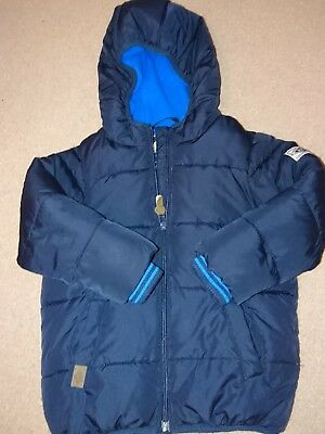 NEXT navy blue boys winter coat age 3-4 padded with hood excellent condition