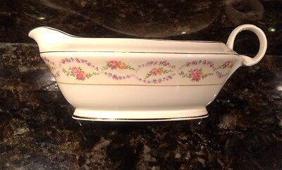 Edwin Knowles China Gravy Boat Multi Colored Roses