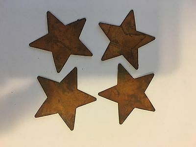 """Primitive Rusty Tin 2"""" Traditional Stars Crafting"""