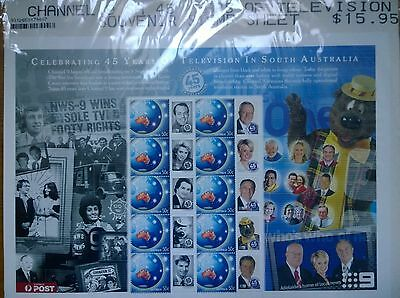 Australia Post 45 Years of TV in South Australia MNH Smiler/Miniature Sheet