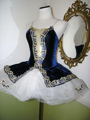 Revolution #170 Dance Costume Body Suit Blue Velvet Ballet SA Small Adult