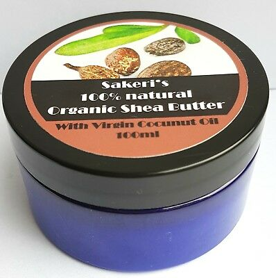100%  Whipped  Organic Shea Butter with Virgin Coconut Oil. A Grade. 100ml