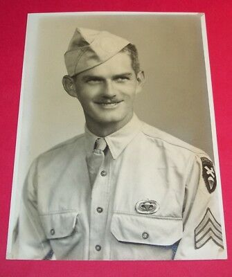 Original Ww2 Photo: Id'd U.s. A/b Paratrooper Command Sergeant With Jump Wings!
