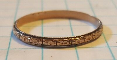 ANTIQUE VICTORIAN 10K GOLD Flowe BAND RING SZ 6 3/4 scrap .8g wear 2mm