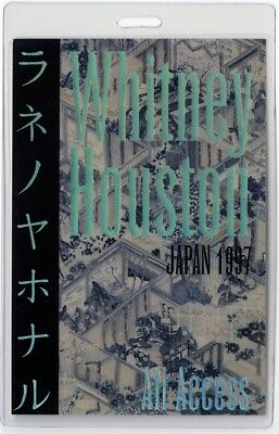 Whitney Houston authentic 1997 concert Laminated Backstage Pass Japan Tour AA