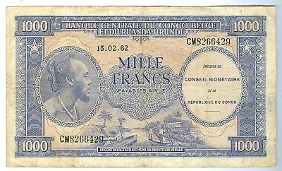 Congo-Belge: 1000 Frs 1962 issue,Grade VF-20,Pick#2..Est: $140