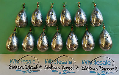 13 X Size 8oz (224gms) australian made pear bomb bass casting reef sinkers
