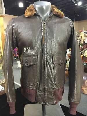 Vintage US WW2 WWII Era USN Navy G-1 G1 G 1 Flight Bomber Jacket Size 38
