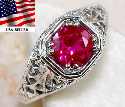 1CT Ruby 925 Solid Genuine Sterling Silver Art Deco Filigree Ring Jewelry Sz 9