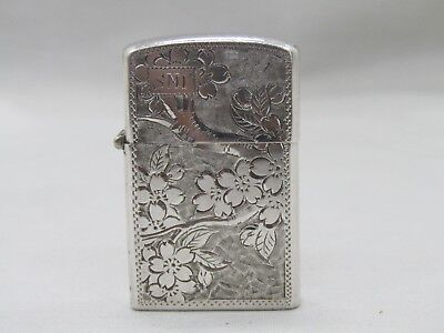 Vintage Sterling Silver Floral Etched Cherry Blossom Tree Lighter