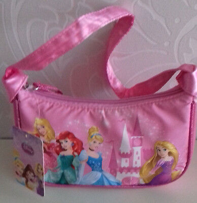 """Disney Princesses  Bag 1Handle Pink Zip Satiny Material Lined """"once Upon Time"""""""