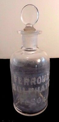 Cir 1879 Whithall & Tatum & Co Apothecary Storage Bottle  Raised Letters FeSO4