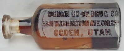OGDEN, UTAH early embossed and labeled druggist OGDEN CO-OP DRUG CO. very nice