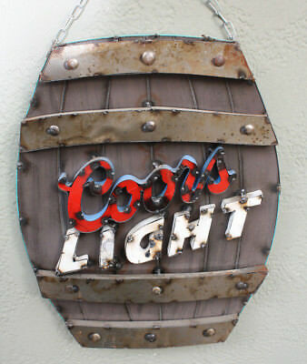 Metal COORS LIGHT BEER Sign Gas Oil Garage Man Cave Home Decor KEG BARREL BAR