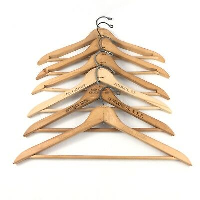 Vintage Wood Suit Hangers Advertising Lot of 6 Newman Bros Hilton Fallsview NY