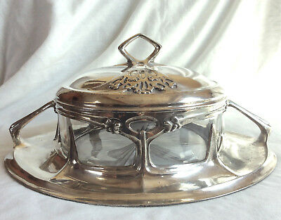 Rare Art Nouveau 'Kompottiere' Friedrich Adler ORION Silver Plate Pewter w Glass